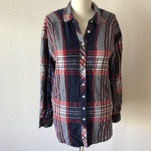 Free People Plaid Long Sleeve Button Down Shirt